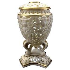 Antique G & Co Grainger Worcester Reticulated Lidded Vase Potpourri Urn