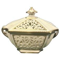 Antique Porcelain G & Co Grainger Worcester Reticulated Lidded Vase Bowl W Handles Potpourri