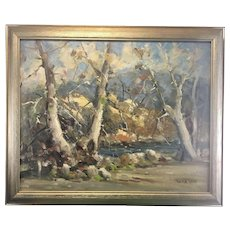 Vintage Derk Smit Oil On Canvas Board Autumn Landscape Painting