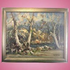 Vintage Derk Smit Oil On Canvas Board Autumn Landscape Painting