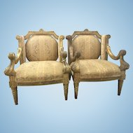 Pair Antique French Wingback Fauteuil Arm Chairs Gilt Wood