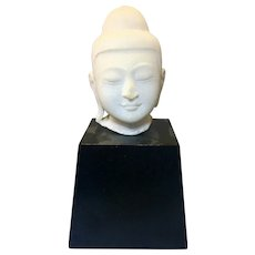 Vintage Asian Thai Alabaster Marble Buddha Head On Wood Base Ayutthaya