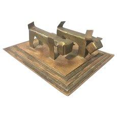 Art Deco Austrian Copper Brass Sculpture Stylized Scottish Terrier Dogs Hagenauer Style