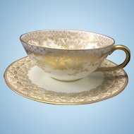 Tiffany & Co Royal Doulton Gilt Porcelain Cup & Saucer