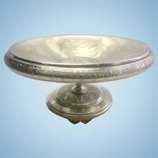 Footed Pairpoint Silver Plate Repousse Compote Candy Dish Etched Aesthetic Period Art Nouveau