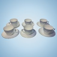 6 Vintage Bing & Grondahl B&G Denmark Porcelain Seagull Demi Tasse Cups & Saucers