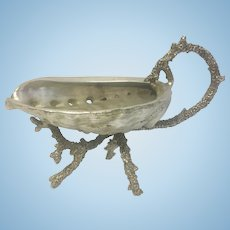 Vintage Silver Plate Shell Bowl With Spout SP Coral Handle & Feet