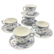 5 Royal Copenhagen Denmark Porcelain Blue Fluted Half Lace Cups & Saucers