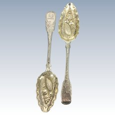 2 Georgian English Sterling Silver William Eley & William Fearn Fruit Berry Spoons Repousse
