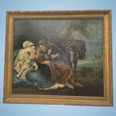 Antique European Old Master Framed Oil Painting Holy Family Flight Into Egypt