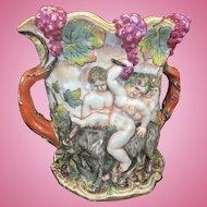 Large Old Capodimonte Porcelain Campana Urn Vase W Tree Handles Bacchus Cherubs