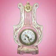 Antique French Marti Porcelain Clock Lyre Lute Shape Louis XV Style