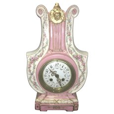 Antique French Marti Porcelain Clock Lyre Lute Shape Louis XV Style