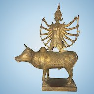 19th C Asian Thai Lord Shiva On Nandi Bull Bronze Sculpture