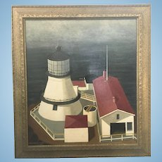 1958 George Von Physter Point Reyes Lighthouse Painting Listed Artist MCM