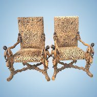 Antique Venetian Carved Blackamoor Putti Palatial Throne Chairs