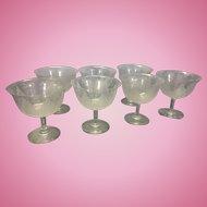 7 Dorflinger Kalana Lily Art Nouveau Etched Stem Grapefruit Bowls