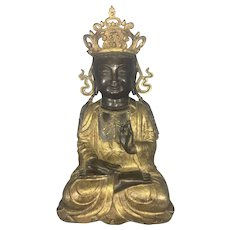 Large Vintage Seated Chinese Guanyin Kwanyin Gilt Bronze Sculpture