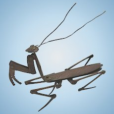 Antique Copper Metal Meiji Japanese Okimono Articulated Praying Mantis Sculpture Figure