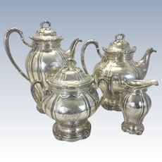 French Paul Canaux & Cie Tea Coffee Service 950 Sterling Silver Acanthus Pattern 4 Piece