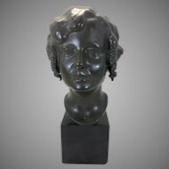 1923 Tore Strindberg Bronze Sculpture Art Deco Female Maiden Bust Marble Base