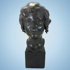 1923 Tore Strindberg Bronze Sculpture Art Deco Female Maiden Bust Marble Base