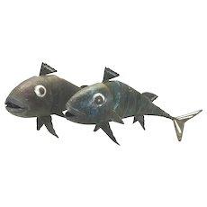 Pr Large Graziella Laffi Verdigris Copper & Sterling Silver Articulated Fish Peru