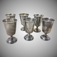 6 Antique Russian Silver Cups Kiddush Vodka Mini Chalice Shape