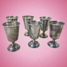 6 Antique Russian Silver Cups Kiddush Vodka Mini Chalice Shape
