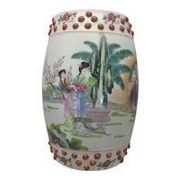 Vintage Chinese Rose Famille Porcelain Wall Pocket Plaque