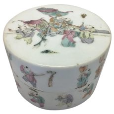 Antique Chinese Porcelain Round Trinket Jewelry Box As Is