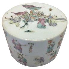 Antique Chinese Porcelain Round Trinket Jewelry Box