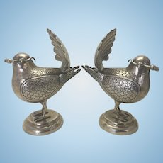 Pair Vintage Sterling Silver Turtle Dove Bird Figural Spice Box
