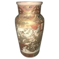 Old Japanese Satsuma Kutani Heavily Gilded Enameled Porcelain Vase