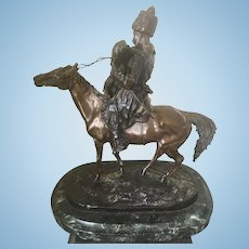 Eugene Alexandrovich Lanceray Bronze Sculpture Russian Cossack Woman On Horse