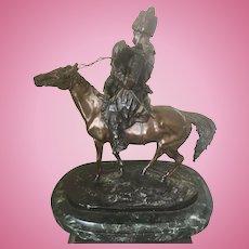 Eugene Alexandrovich Lanceray Bronze Sculpture Russian Cossack Woman On Horse