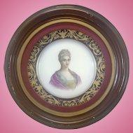 Sevres France Cobalt Hand Painted Duchess Falari Cabinet Plate Framed