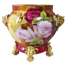 Huge Limoges hand-painted Jardiniere/cache-pot with elephant head handles on separate base, Paw/Claw Feet, artist signed, ca 1900s