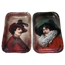 """18.5"""" Rare Pair of hand-painted Limoges Plaques/trays with the portrait, artist signed, GDA 1900-1942"""