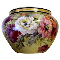 """Limoges Jardiniere/cache-pot with colorful flowers, artist signed """"L.GOLSE"""", W. G. &Co. 1900-1932"""