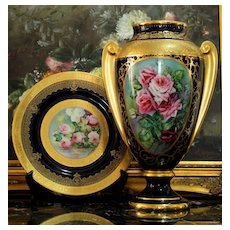 "14.8"" Limoges heavy Golding inlaying cobalt blue vase with hand-painted roses, artist signed ""Leroussaud"", 1930s"