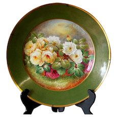 """16"""" Limoges France antique hand painted wall plaque/ tray with the roses, artist signed """"E. LAMOURS """" ca 1930s"""