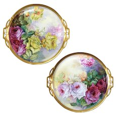 "15.15"" long Pair of Limoges France hand-painted roses chargers/ plates, ca 1890s -1920s"