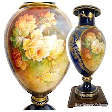 "28"" tall ~ ONE OF A KIND! Museum Masterpiece ~ Fabulous Limoges Hand Painted Vase with exquisite raised gold paste and enameling~ Breathtaking ROSES on two sides~ artist signed ""Marcedet"" 1920s"