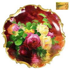 """15.75"""" large """"A. Bronssillon"""" signed, hand-painted Limoges France tray/ plaque, ~ Breathtaking ROSES ~ Museum Quality Masterpiece, 1906 – 1920"""
