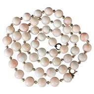 18k gold 58.5g Vintage Natural Angel Skin Coral beaded necklace, 9mm-10mm