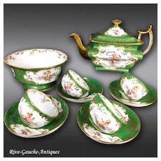 Antique French Hand-painted Tea/ coffee Set of 10 pieces, 1850s