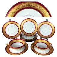 set of 10-pieces Limoges France raised gold gilt chocolate cups & saucers/ plates, 1950-60s