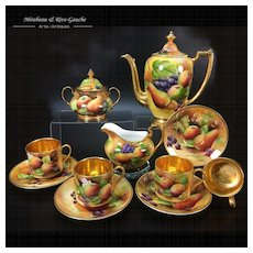 Brookdale fine bone china hand-painted fruit tea/ coffee Set of 11 porcelain pieces, 1950s