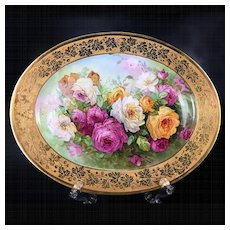 """18.7"""" long Limoges hand painted tray/ platter with the roses, artist signed"""